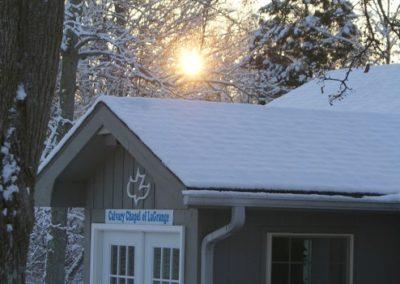 snowy view of calvary chapel legrange kentucky location
